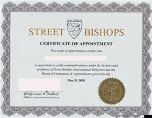 Street Bishops Ordination Certificate